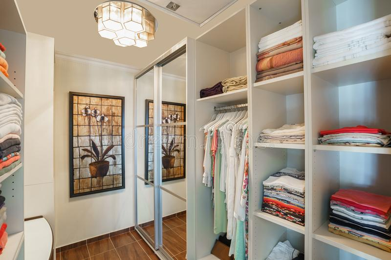 Wardrobe room in a private villa stock images